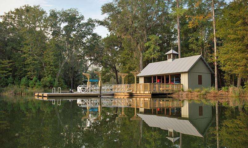 The Hawk Island Boathouse is a convenient place for residents to store their kayaks