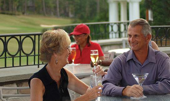 Residents of Woodside Plantation enjoy fine dining inside and out.