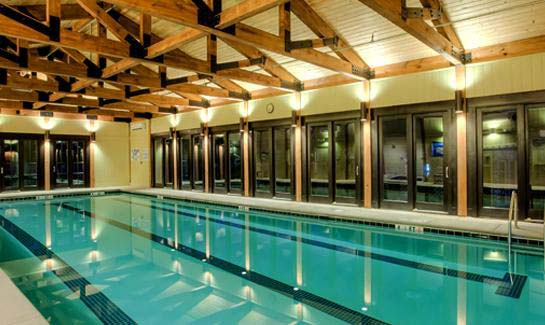 The new Wellness Center includes an indoor heated saltwater pool.