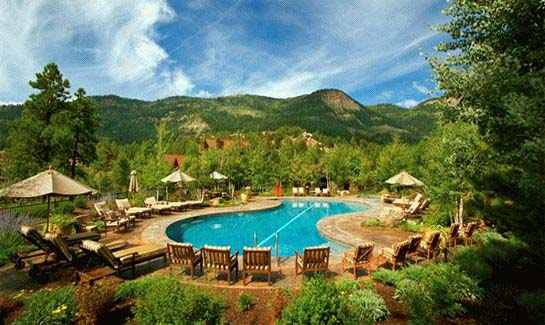 The Glacier clubhouse pool overlooks Colorado's Missionary Ridge