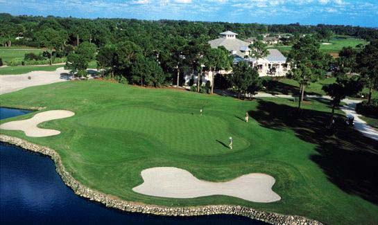 Aerial view of the clubhouse and hole #18 at Indian River Club