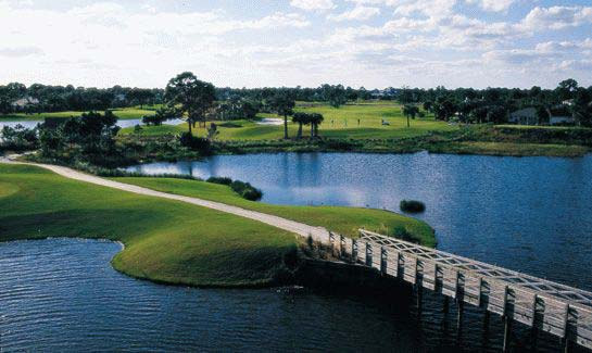 View of the cart bridge leading to Hole #8 at Indian River Club