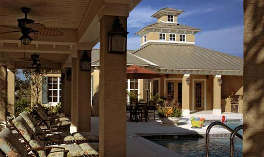 A resort-style pool and spa with an outdoor kitchen is offered at the community's Recreation Center.