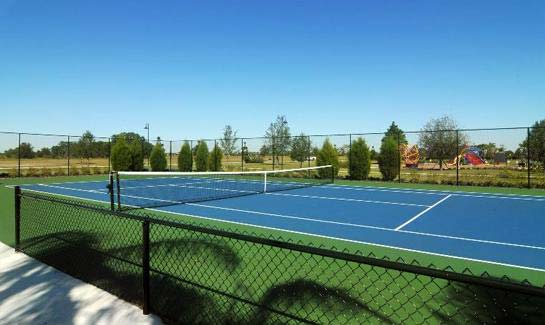 Two private tennis courts are located in Central Park's community park.