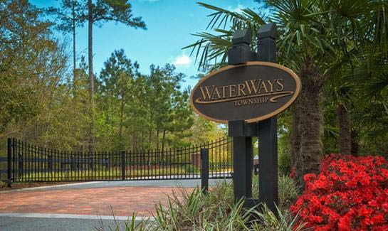 Naturally elegant entrance to WaterWays Township.