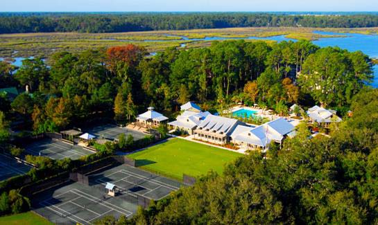 Aerial view of Walker Landing, the hub of Spring Island activity, which includes the Sports Complex, River House and Nature Center.
