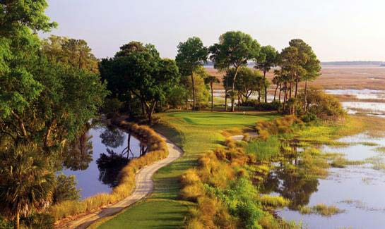 "The 17th hole of Old Tabby Links at Spring Island, a course designed and described by Arnold Palmer as a ""walk in a nature park."""