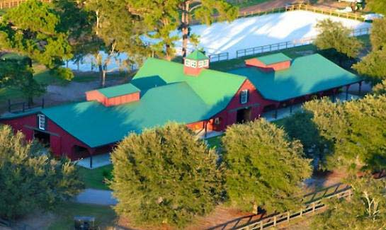 Spring Island's Equestrian Center, complete with a 24 stall barn and a new 100x200 foot riding arena and 60' round pen.
