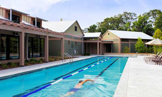 View of the heated lap pool, located near the zero-entry family pool at Spring Island's Sports Complex.