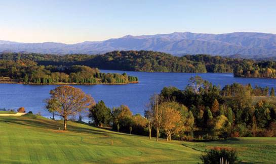 Rarity Bay golf course with Lake Tellico and the Smoky Mountains