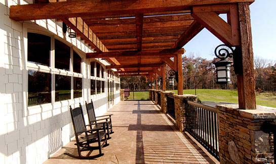 Residents can relax and take in the views from the clubhouse's rocking chair front porch.